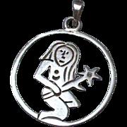 70's Girl Sterling Silver Pendant hallmarked