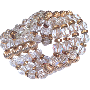 Stunning 1950's Beveled Crystal Beaded Cuff Bracelet