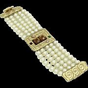 Signed Gerard E. Yosca Costume  Pearl Bracelet