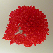Carved Early Plastic Red Floral Sweater Clip