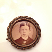 Antique brass photo pin or brooch