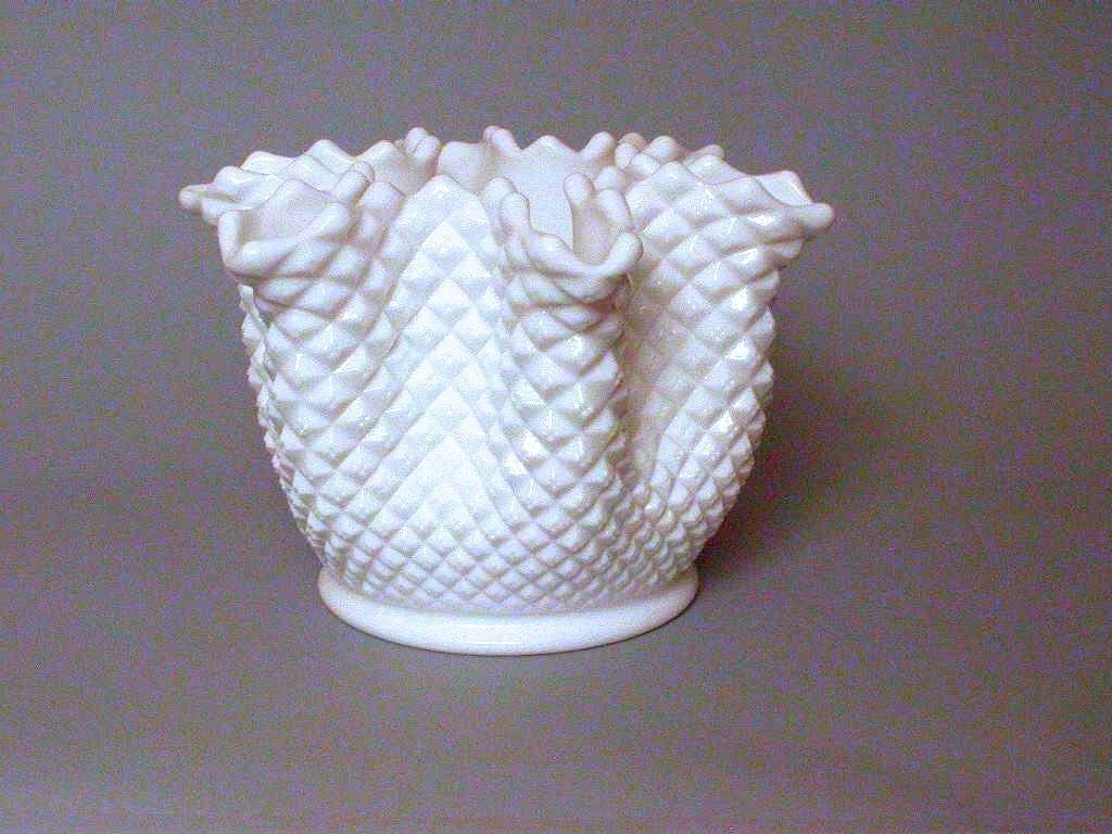 Westmoreland hobnob milk glass handkerchief vase marked