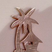 Vintage mother of pearl  palm tree brooch