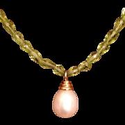 Gorgeous 14K Set Single Pearl & Peridot Necklace