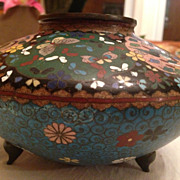 Antique Japanese Cloisonne Footed Vase