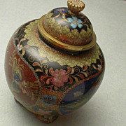 Antique Japanese Cloisonne Gilded Footed Covered Jar