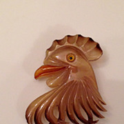 Early Plastic Carved Rooster Brooch
