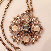 Gorgeous Catherine Popesco  France Crystal Brooch Necklace