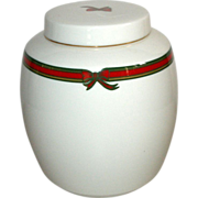Royal Doulton Biscotti Ginger Jar White in Red/Green Ribbon Pattern, 1988 English Porcelain
