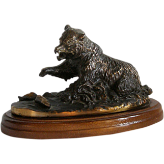 O'Brien Bear Bronzed Metal Sculpture Catching Fish on Wood Base by Gallery Originals Vintage Ex Cond