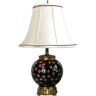 Lamp Cut Ruby Glass and Brass Deep Ruby Burgundy Cut to Clear Glass and Solid Brass Table Lamp with Matched Silk Shade