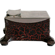 Heavy Iron Tape Moistener Box with Baked Red Black Crackled Enamel Paint Finish Stainless Top
