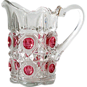 8in EAPG Pitcher Cranberry Medallion Concave Circles in Raised Octagons Diamond Facets ...