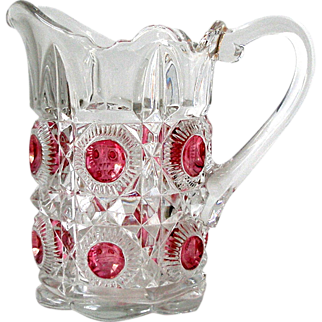 8in EAPG Pitcher Cranberry Medallion Concave Circles in Raised Octagons Diamond Facets Scalloped Base Raised Lip Pressed Glass