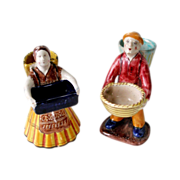 2 Early DERUTA Merchant Figurines Majolica Art Pottery Italy Man Woman Original Label RARE VER