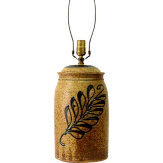 1980s Pottery Lamp John Bauman Indiana Stoneware Functional USA Lighting