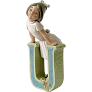 SALE 1982 Lladro Vowel School Girl Figurine U for Ursula Jose Puche Daisa 5149 Vowel ...