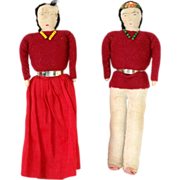 2 Vintage Native American Navajo Dolls Cloth Couple Burgundy Red Velvet 7.5 in