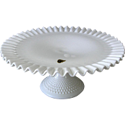 Fenton Hobnail Cake Plate White Milk Glass Ruffled Crimped Edge Pedestal Cake Stand  Marked ..