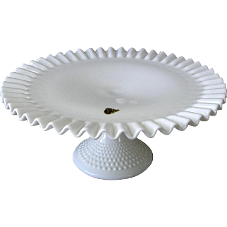 Fenton Hobnail Cake Plate White Milk Glass Ruffled Crimped Edge Pedestal Cake Stand  Marked Label Intact Ex Condition