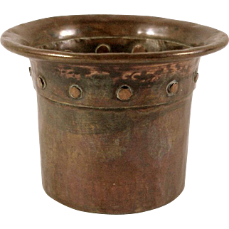 SALE Rare 1905 Onondaga Metal Shops Riveted Hand Hammered Copper Vase Container OMS Marked Arts and Crafts Antique VALENTINE'S SALE