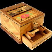 Vintage Japan Inlaid Wood Roll Top Cigarette Pop Up Dispenser Box Scottie Dog