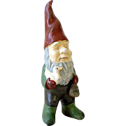 "13"" German Garden Gnome Painted Cast Iron Elf Sprite Holding a Goose and Bag of ..."