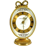 """Bow Topped Swiza Sheffield Brass Alarm Clock Swiss Made 3.5"""" Oval on Stand"""