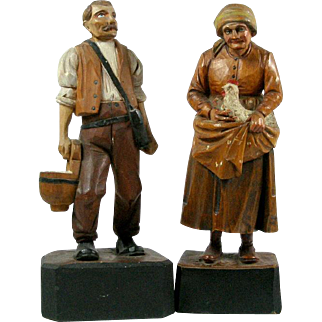 2 Extremely Fine Detail Polychrome Wood Carvings Farm Couple Man with Bag and Milk Bucket / Woman with Hen and Chicks in Apron Black Forest Bavarian Anri VERY OLD