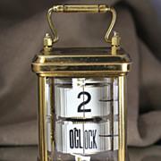 1902 Antique Brass Plato Flip Ticket Desk clock