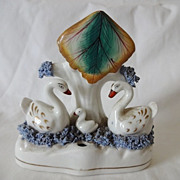 Antique Staffordshire Quill Pen Holder - Swans