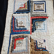 SOLD Antique Log Cabin Crib Quilt