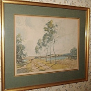 REDUCED ANTIQUE French Landscape Lithograph - Signed Known Artist