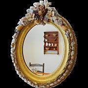 Shellwork and Gilt Oval Frame Mirror