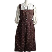 Women's Linen Jumper Dress with Blouse and Stockings