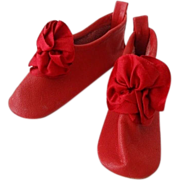 Dolls Red Leather Slipper Shoes