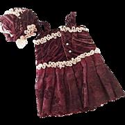 Antique Bebe Fashion Doll Velvet Dress and Hat