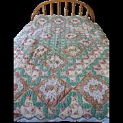 Vintage Patchwork Quilt - Orange Peel Pattern