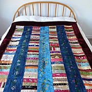 Victorian Embroidered Silk and Velvet Crazy Quilt
