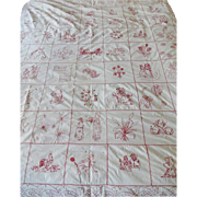 SOLD Antique Red Work Embroidered Quilt - Dated
