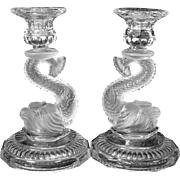 Antique Glass Dolphin Candlesticks