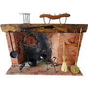 Dollhouse Colonial Fireplace w Accessories by Chestnut Hill Studio - Signed
