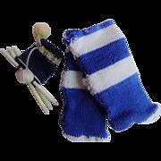 Old Dolls Knitting Needles and Knit Socks