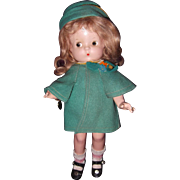 Patsy Jr. in Rare coat-Outfit Effanbee Composition Doll