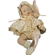 Sweet Hand Crocheted Baby Outfit for Small Bisque or Composition Doll