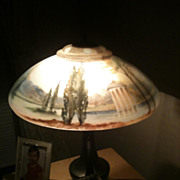 SOLD 8 - Pairpoint reverse painted San Souci lamp