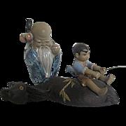 Chinese Porcelain Shiwan Clay Glazed Little Wise Man Longevity God and Boy on Water Buffalo Mu