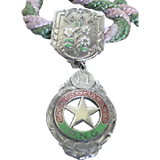 Vintage 100F Odd Fellow Pendant - PNG - White, green, red enameled medal - w/pink and green ..