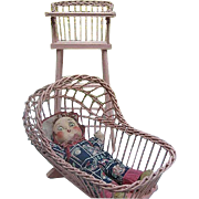 Vintage Pink Wooden Wicker Doll High-chair and Cradle - 1940's era - ***Doll not included in s