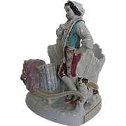 SALE Vintage Hand-painted porcelain Fairing of Peasant boy resting on Haystack with dog - Germ